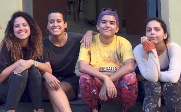 Founding Artists of Colectivo Moriviví: Raysa Raquel Rodríguez García, Estefanía Rivera Cortés, Joy Díaz, and Sharon González Colón.