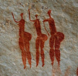 African rock painting of 3 women